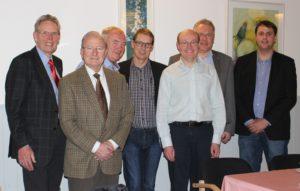Fra venstre er det Mogens K. Nielsen (formand), Ove Engstrøm, Erling Lundsgaard (næstformand), Petter Astrup, Jens Møller (sekretær), Henrik T. Nielsen og Henrik Juul Nielsen (kasserer). Bestyrelsen tæller også C. C. Nielsen, som ikke var til stede, da billedet blev taget.