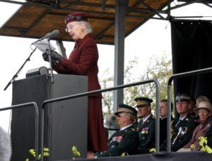 Dronning Margrethe taler i Kongeskansen.