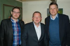 Daniel Staugaard, Lars Løkke og Peter Hansen på Den Gamle Kro i Gråsten. Foto: Venstre