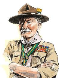"Baden Powell, der ""opfandt"" spejderbevægelsen."