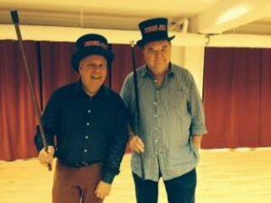 Maibom og Jensen som komikerparret Løkke og Hjort.