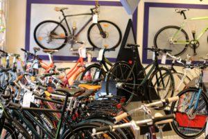 En del af udvalget hos Fri BikeShop i Gråsten.