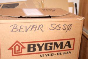 En af flyttekasserne med papirer fra Kasernekamp 1. Måske lander de på Lokalhistorisk Arkiv.