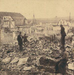 Sønderborg skudt i ruiner. Foto: 1864dage.