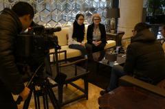 Aase Nyegaard holder pressemøde i Kina.