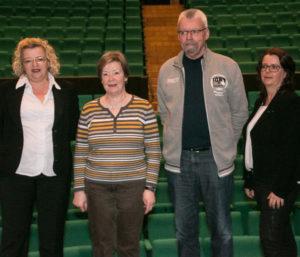 Mette Pedersen, Eva Mathiesen , Frede Jensen og Helle Miang var på scenen tirsdag middag.