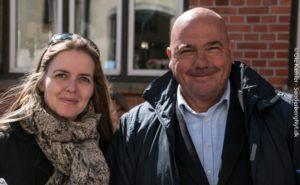 Ellen Trane og Jan Callesen fik hilst på kommende vælgere i Nordborg. <div class=