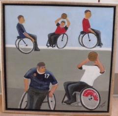 Kurt Sandagers maleri af kørestolsbasket.