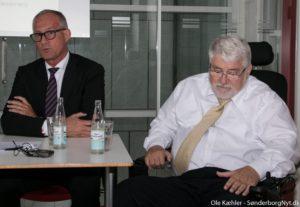 Per Have og Peter Mads Clausen på onsdagens pressemøde.