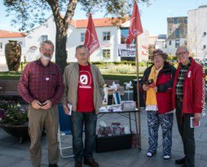 Anders Brandt til venstre og Henning Hyllested til højre får opbakning fra to partifæller.
