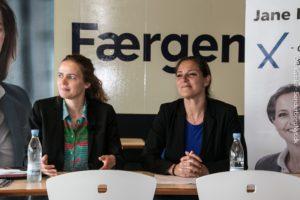 Ellen Trane Nørby og Jane Heitmann fik Als-Fynbroen ind i valgkampen.