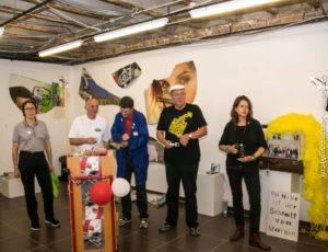 Fem af kunstnerne deltog i ferniseringen i XBunker.