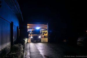 Kort før lukketid kører Falck den sidste udrykning. Foto: Bo Bach Jensen