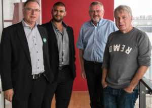 Peter Rathje, Roger Matthisen, Hans Lehmann og partistifter Uffe Elbæk.