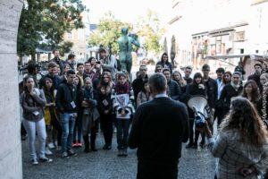 Borgmesteren tog mod nye studerende på Rådhustorvet.
