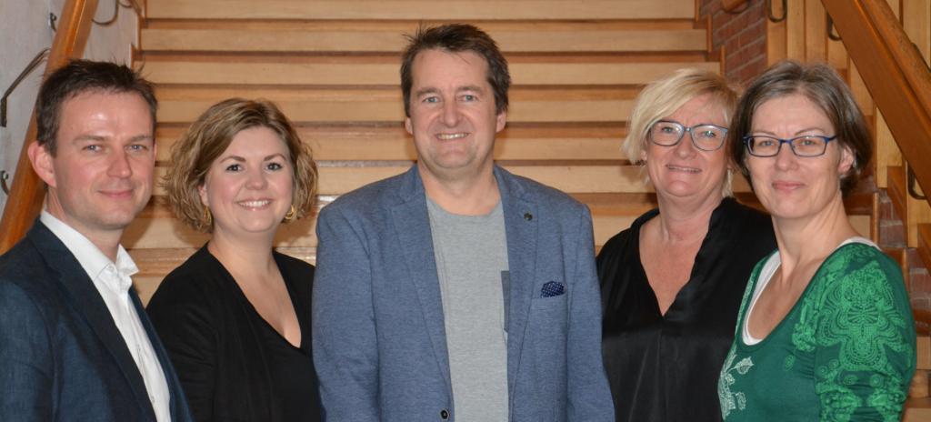 Fra venstre Jesper Axelsen, EASV Campuschef Sønderborg, Carina Pedersen, underviser på Det Blå Gymnasium, Peter Scroll, EASV, Bente E. <div class=