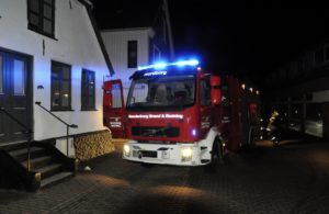 Brandbil tidligt torsdag morgen i Storegade i Nordborg. Foto: Per Fransom