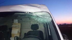 Sådan ser en bil ud, der er blevet ramt af en flyvende isklump fra en lastbil. Foto: Kurt Nielsen